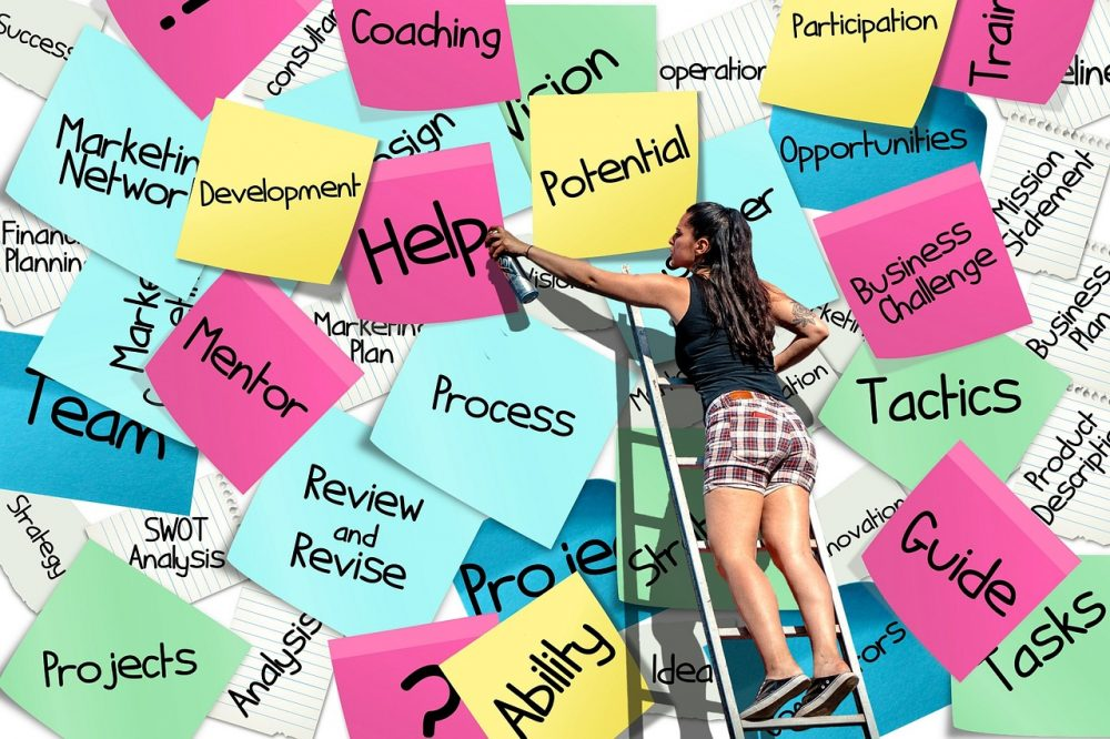 wall of sticky notes business work words teenager on ladder spray painting