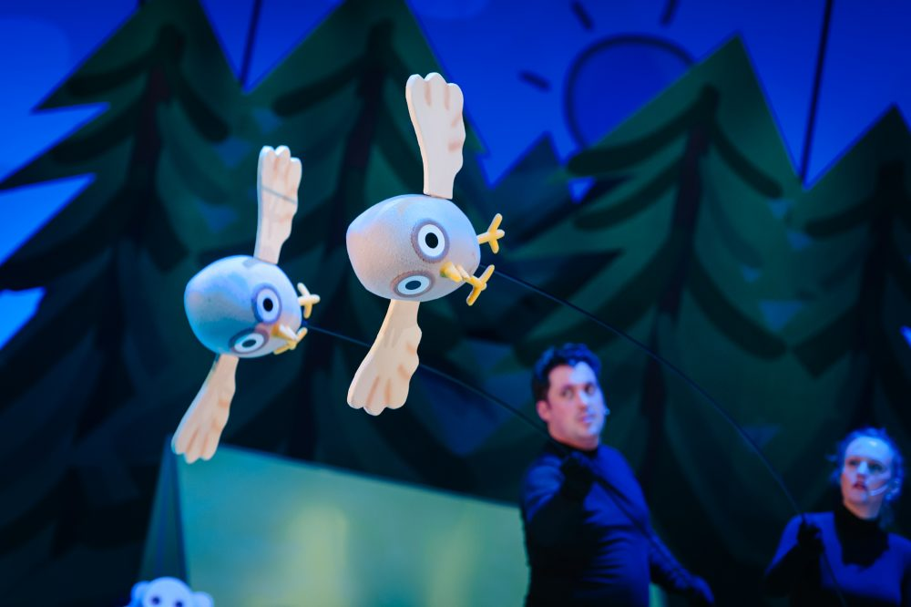bird puppets flying