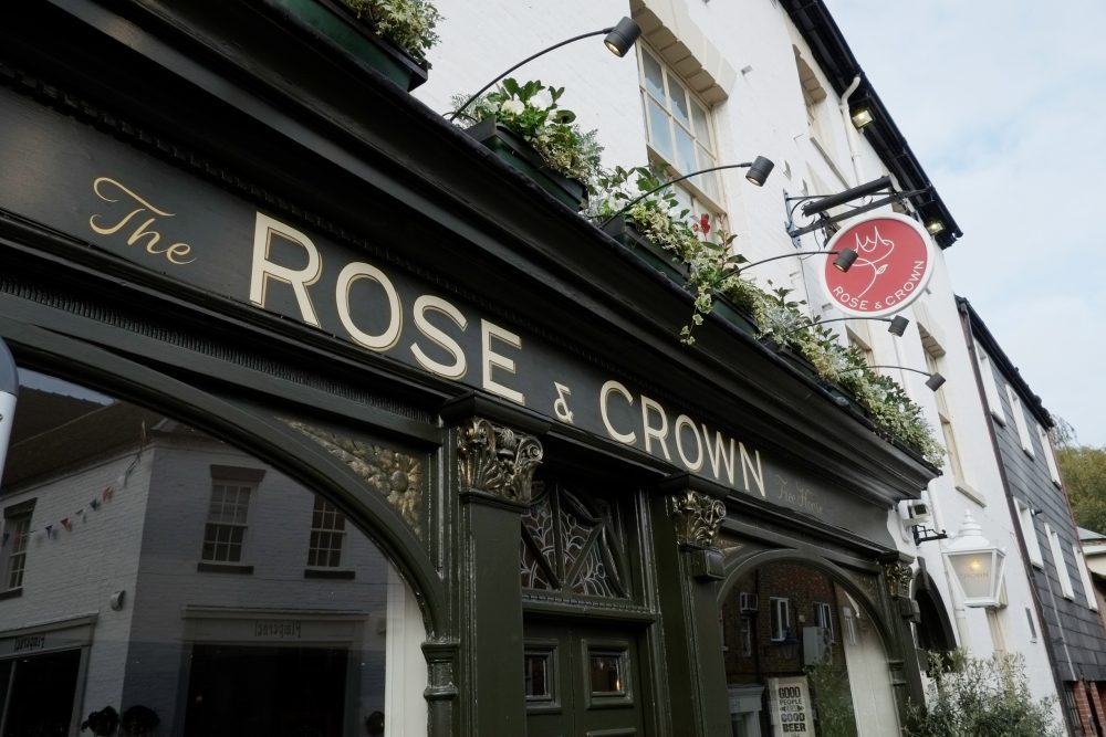 Rose and Crown pub exterior dark green signage