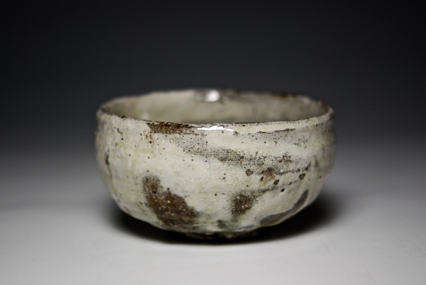 stoneware Japanese teabowl in white and green