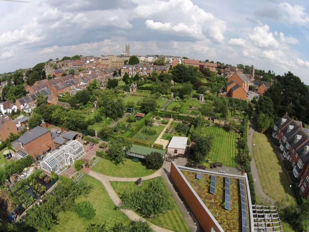 Aerial view of the garden plots.
