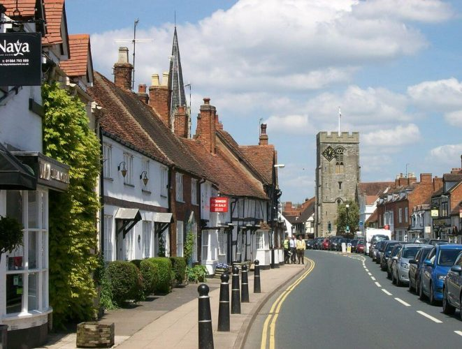 Henley-in-Arden high street in Warwickshire which has more than 150 buildings of historic interest.
