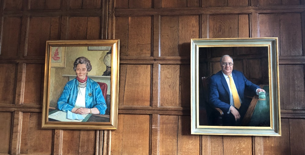 Portraits of former Principals: Bronwen Lloyd-Williams (left) and Jonathan Forster who has just retired  (right).