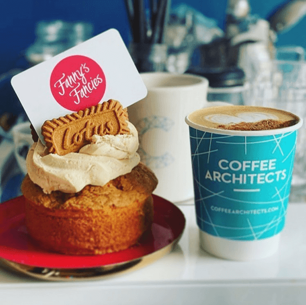 Fanny's Fancies Lotus Biscoff cake and Coffee Architects fresh coffee takeaway
